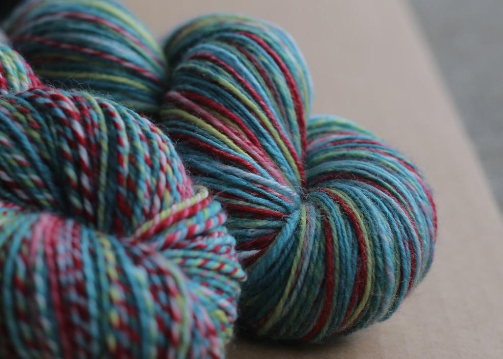 sweet georgia yarns' strawberry season merino + nylon